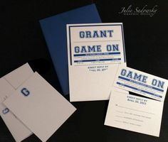 GAME ON, with this college sports themed Bar Mitzvah invitation pocket card. Perforated RSVP card? Custom Created by Julie Sadowsky Graphic Design - www.jsgdstudio.com
