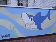 Arte para parquinho da escola de ensino infantil. Tema: Fundo do mar Feito em tinta acrílica para parede e pigmento.
