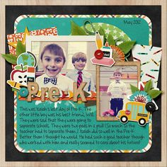 A digital scrapbooking layout about my son in Pre-K | credits: School Zone Bundle by Melissa Bennett | pre-k scrapbooking layout, school scrapbooking layout, digi scrap