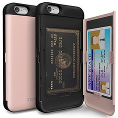 iPhone 6s Case, iPhone 6 Case, TORU [CX PRO] - [CARD SLOT] [ID Holder] [KICKSTAND] Protective Hidden Wallet Case with Mirror for iPhone 6 / 6s - Metal Slate