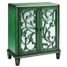 mirrored green vine cabinet