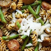 Home | Fall Recipes | Sur La Table - Whole Wheat Pasta with Chicken Sausage, Pesto and Green Beans