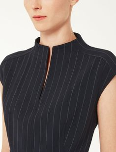 Stretch wool princess dress Max Mara in 2019 Dress Neck Designs, Designs For Dresses, Neckline Designs, Kurta Designs, Blouse Designs, Flapper Style Dresses, Kurta Neck Design, Black One Piece Swimsuit, Business Shirts