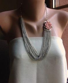 Handmade Resin Rose Brooch  and chain by HMbySemraAscioglu on Etsy