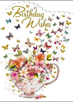 – Birthday Floral & Butterflies – Card x - Geburtstag Happy Birthday Greetings Friends, Funny Happy Birthday Images, Happy Birthday Celebration, Happy Birthday Flower, Happy Birthday Friend, Birthday Blessings, Happy Birthday Messages, Happy Birthday Female, Birthday Wishes For Women