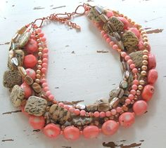 Bead Lover's Torsade - No20/Coral, Feldspar, FWPearl, MOP, Crystal   miabellacollection-jewelry - Jewelry on ArtFire