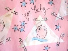 Vintage Wrapping Paper  For Baby with Diaper Pin by TillaHomestead