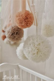 Beautiful tulle pom poms for decorations. Reading Nook decoration.