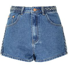 Mid Blue Plait Detail Denim Shorts