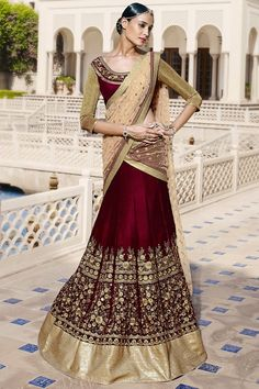 Velvet and Net Party Wear Lehenga Choli in Beige and Maroon Colour NC2384 – ADDSHOP.NET