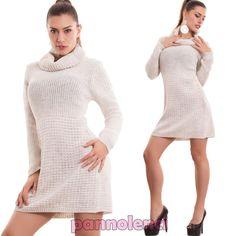 Vestito-donna-maxipull-pullover-lungo-miniabito-collo-alto-lana-nuovo-AS-1612