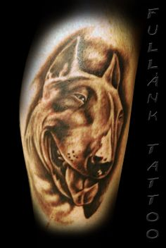 Bull Terrier tattoo - check out that smile!