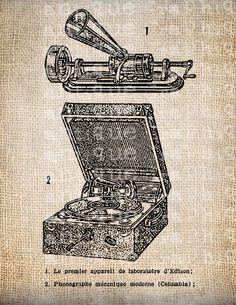 Antique French Phonograph Diagram Vintage Illustration Digital Download for Papercrafts, Transfer, Pillows, etc Burlap No. 4041. $1.00, via Etsy.