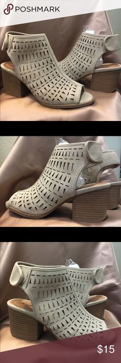 Brand new in box: Suede Laser cut out BOOTIES Brand new suede cutout booties! Velcro closure, fun chunky heel, comfy height! Qupid Shoes Ankle Boots & Booties