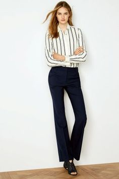 Buy Navy Boot Cut Trousers from the Next UK online shop Trousers Women, Women's Trousers, Pants, Navy Boots, Capsule Wardrobe Work, Formal Shirts, Next Uk, Uk Online, Work Wear