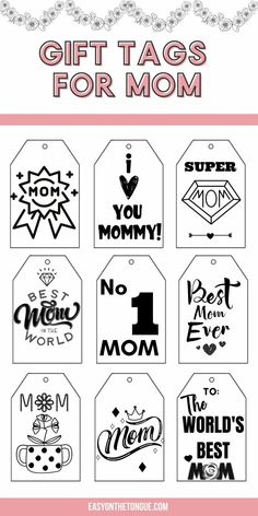 Grab the Free Black and White Mom Gift Tags, available on easyonthetongue.com Paper Gift Bags, Paper Gifts, Free Black, Black And White, Good Tutorials, Sweet Messages, Montessori Materials, Complimentary Colors, Happy Mom