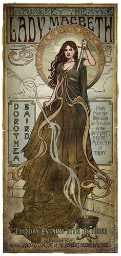 Art Nouveau poster, Haymarket Theatre: Dorothea Baird as Lady Macbeth Mucha Art Nouveau, Azulejos Art Nouveau, Alphonse Mucha Art, Art Nouveau Poster, Art Nouveau Design, Art And Illustration, Illustrations Posters, Lady Macbeth, Macbeth Witches