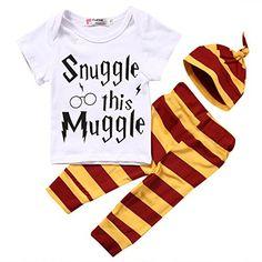 3Pcs/Set Newborn Baby Girl Boy Snuggle this Muggle Tops T-shirt+Leggings + Hat Outfits Set (80 (6-9M))