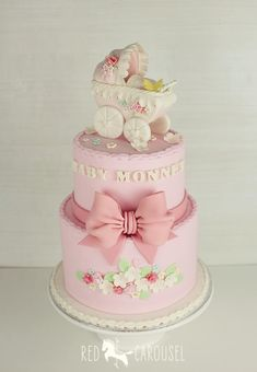 Original baby shower cakes Today I want to share with you a very complete gallery with different very original cake designs that you can use for your baby Gateau Baby Shower, Baby Shower Cakes, Shower Bebe, Girl Shower, Fancy Cakes, Cute Cakes, Baby Girl Cookies, Cupcakes Decorados, Vintage Pram