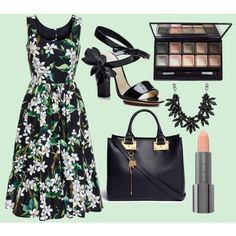 Little Black Floral Dress by ellary-branden on Polyvore featuring Dolce&Gabbana, Sophie Hulme, sweet deluxe, By Terry and Easy Spirit