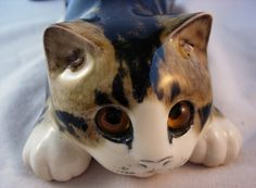 Mike Hinton Signed Pottery Cat Glass Eyes