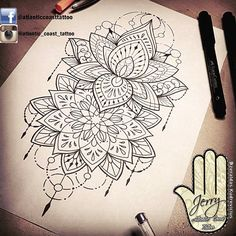 Beautiful lotus mandala tattoo idea by dzeraldas jerry kudrevicius from Atlantic Coast tattoo. Pretty tattoo idea design for a thigh arm mandala ornamental lace dotwork detail.