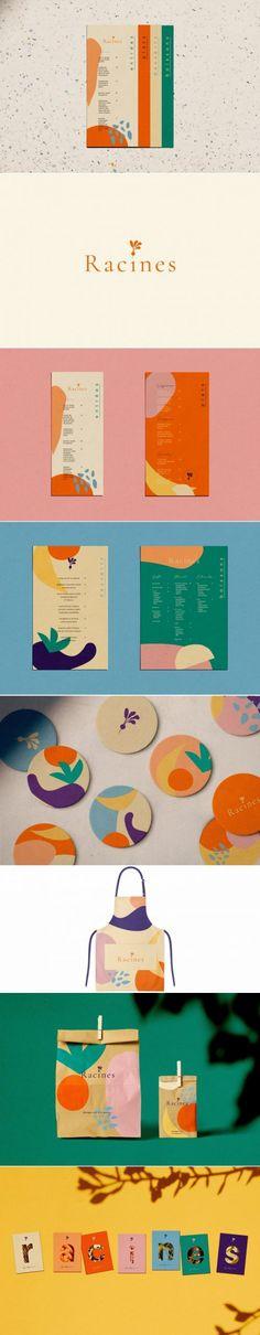 Racines – Fivestar Branding Agency Racines restaurant branding identity by Laurianne Froesel Brand Identity Design, Corporate Design, Branding Design, Logo Design, Design Design, Menu Design, Print Design, Menu Restaurant, Design Package