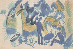 "Beautiful watercolour by August Macke, ""Am Thuner See, Picknick nach dem Segein"" (1913)"