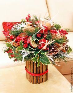 Зимний букет Лондон - ярко-красный,зеленый,зимний букет,европейская флористика