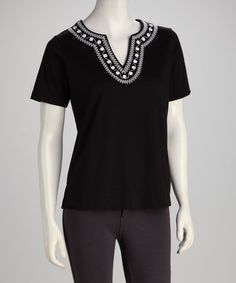 Take a look at this Black & White Embroidered Top - Women, Petite & Plus by Cathy Daniels on #zulily today!