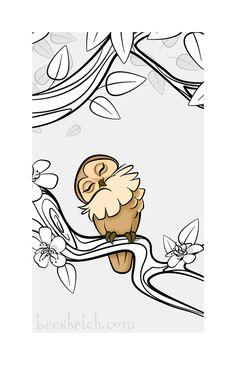'Sleepy Forest Owl' by becsketch