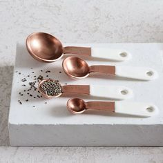 Copper + Enamel Measuring Spoons, Set of White/Copper at West Elm - Kitchen Tools & Utensils - Kitchen Accessories