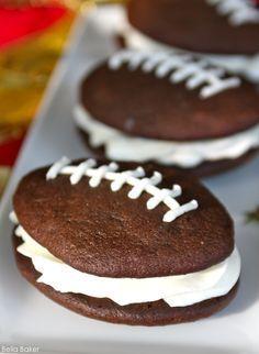 Football Whoopie Pie Recipe by Bella Baker   TheCakeBlog.com