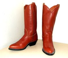 Vintage Handmade brown leather custom cowboy boots  womens size 7