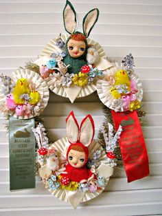 Spring Easter Wreath with Vintage Prize Ribbons and by Bethsbagz