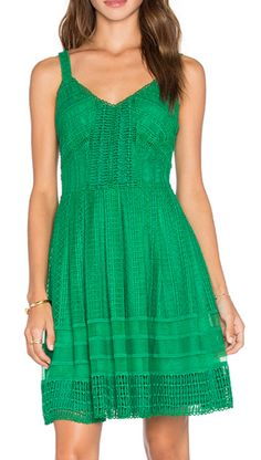 Loving this kelly green dress with embroidered detailing