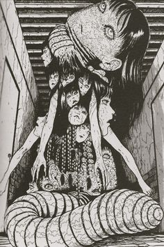 By Junji Ito - more claustrophobia- inducing art - the horrifying idea of being below ground - at one with the worms.
