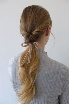 Why not match your hair to your ribbon This low twisted pony tail is completed with a V V Rouleaux double sided velvet ribbon. The shade is Barley Dust. Holiday Hair style How to style long hair romantic hair looks click now to see more. Holiday Hairstyles, Wedding Hairstyles, Hair Styles 2016, Curly Hair Styles, Ribbon Hairstyle, Hairstyles With Ribbon, Pretty Hairstyles, Thin Hairstyles, Ponytail Hairstyles