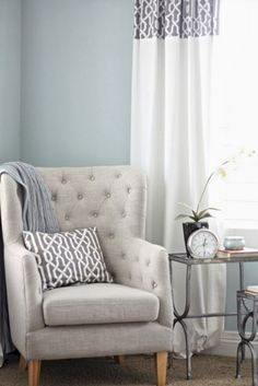 Wall color is Benjamin Moore Smoke. Beautiful bedroom revamp from A Thoughtful P. Wall color is Benjamin Moore Smoke. Beautiful bedroom revamp from A Thoughtful Place. Living Room Paint, Home Bedroom, Master Bedroom, Trendy Living Rooms, Coastal Living Rooms, Living Room Grey, Room Colors, Interior Design, Home And Living