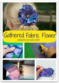 gathered fabric flower with sewmccool Faux Flowers, Beaded Flowers, Diy Flowers, Flowers In Hair, Fabric Flowers, Paper Flowers, Flower Tutorial, Diy Tutorial, Felt Diy