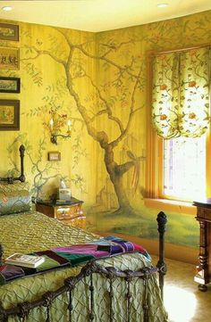 ⋴⍕ Boho Decor Bliss ⍕⋼ bright gypsy color & hippie bohemian mixed pattern home decorating ideas - wonderful yellow walls with tree mural - another window treatment idea. :) I just love the mural Wall Design, House Design, Design Design, Modern Design, Interior And Exterior, Interior Design, Tree Interior, Décor Boho, Hippie Bohemian
