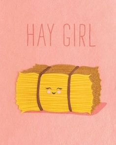 """Hay Girl"" Card, handcrafted in the Philippines by women survivors of sex trafficking from handmade, environmentally sustainable recycled papers. Punny Puns, Cute Puns, Cute Quotes, Funny Quotes, Funny Memes, Funny Monday Memes, That's Hilarious, Cheesy Puns, Bad Puns"