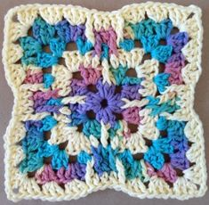 Glass Menagerie Crochet Dishcloth. Using the longer treble crochet to straighten the edges could make for a decent blanket square.