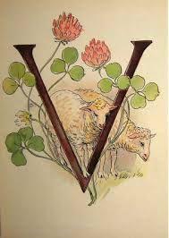 Ottilia Adelborg - Alphabet V Alphabet Design, Alphabet Print, Alphabet Letters, Vintage Book Art, Abc For Kids, Ladybird Books, Doodle Lettering, Love Illustration, Country Crafts