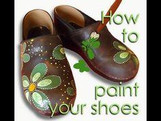 Paint leather shoes using porcelain paint. Como pintar sapatos de couro.