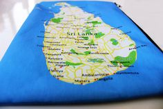 Sri Lanka Zipper pouch  printed with the map of Sri by efratul, $16.00