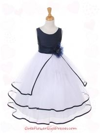 Navy Poly Silk Bodice with Tulle Skirt Girl Dress
