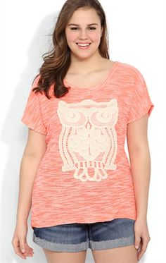 Plus Size Short Sleeve Neon Terry Dolman Top with Crochet Owl Patch