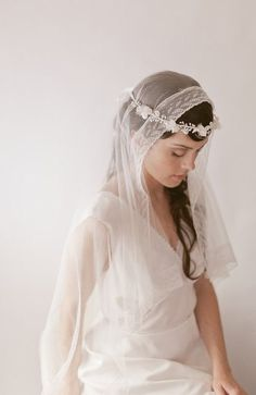 A unique square cut English silk tulle veil is trimmed with an exquisite Lily of the Valley pattern French Maline lace. Wedding Lingerie, Wedding Veils, Lace Wedding, Flower Crown Veil, Flower Crowns, Lace Silk, Vintage Gowns, French Lace, Wedding Hairstyles