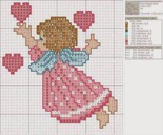 angel-graphic-dot-cross-girl Angels in Cross Stitch. Stitch And Angel, Cross Stitch Angels, Cross Stitch For Kids, Cross Stitch Heart, Cross Stitch Cards, Cross Stitching, Cross Stitch Embroidery, Embroidery Patterns, Cross Stitch Designs